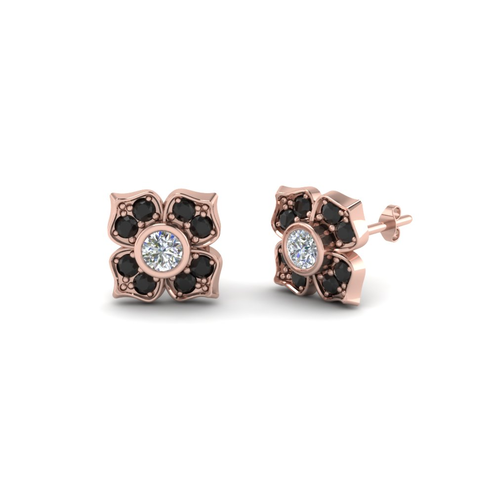 Flower Stud Earring For Women With Black Diamond In 14k Rose Gold Fdoear40248gblack Nl Rg