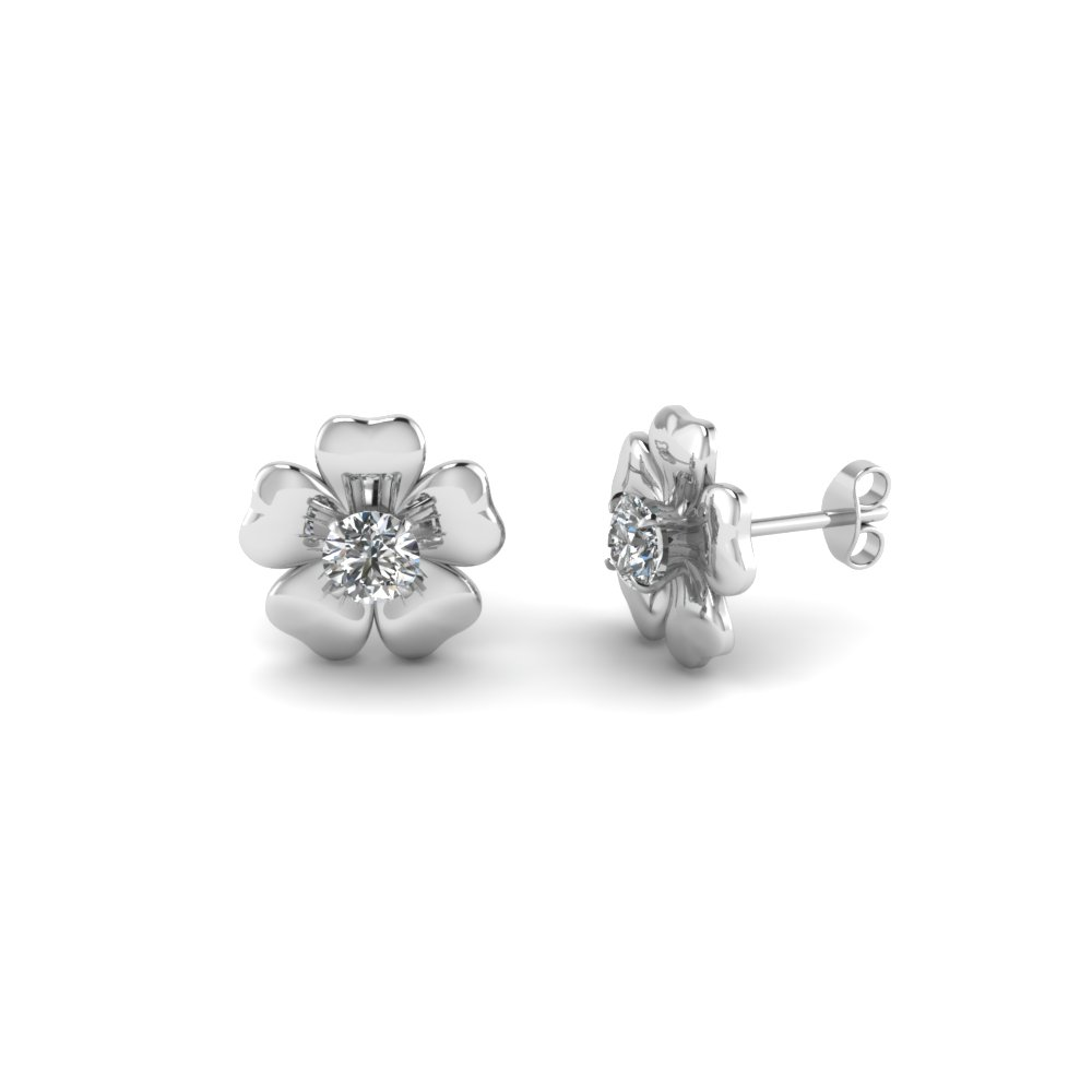 Flower Stud Nature Inspired Earring In 14K White Gold