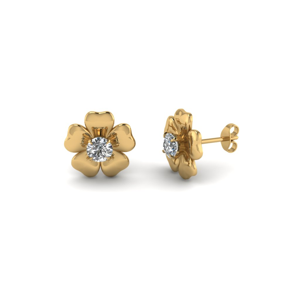 flower stud nature inspired earring in FDEAR1076 NL YG