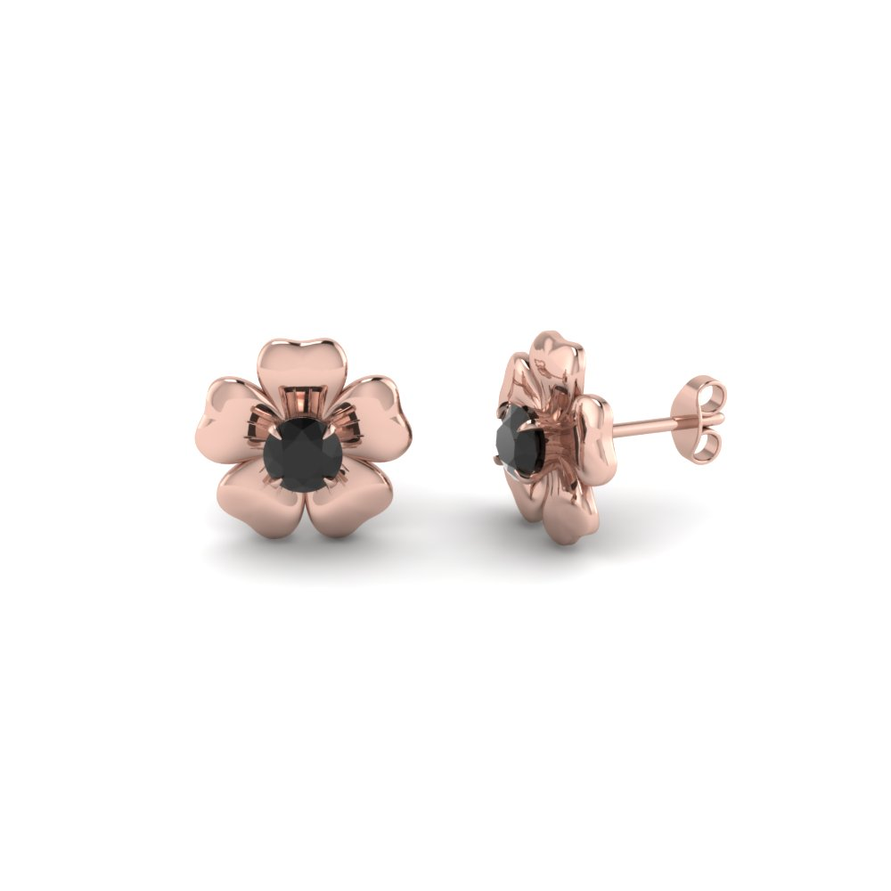 flower stud nature inspired black diamond earring in 14K rose gold FDEAR1076GBLACK NL RG