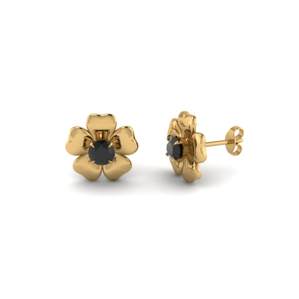 Yellow Gold Black Diamond Stud Earrings For Her