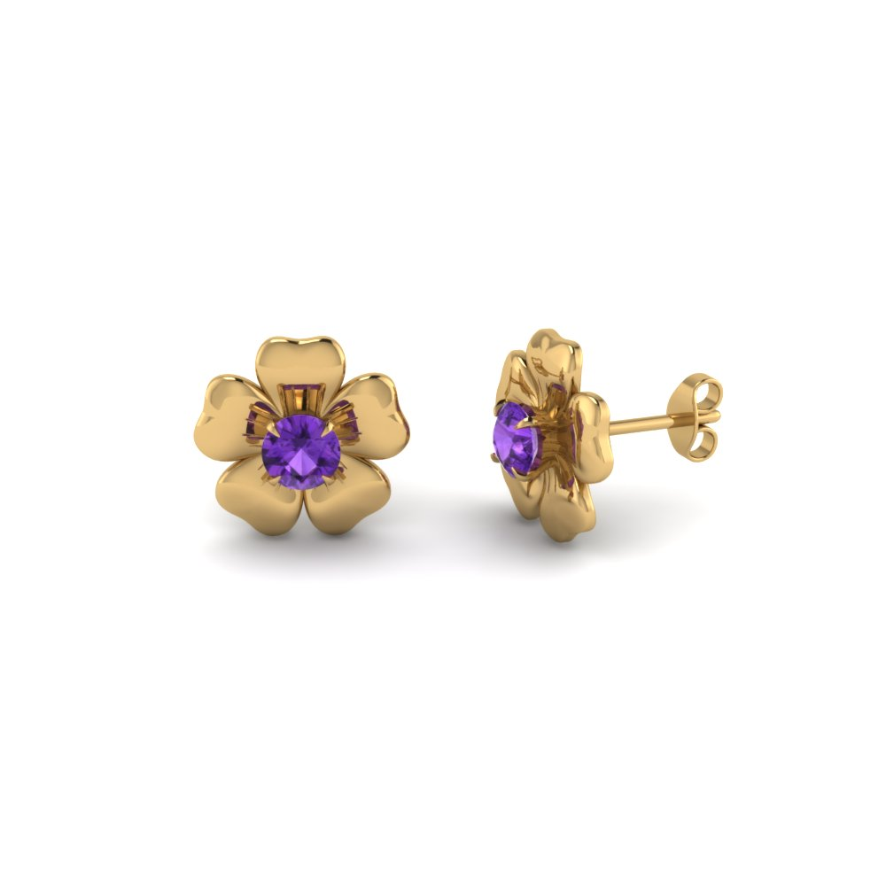 Floral Design Yellow Gold Earrings For Ladies
