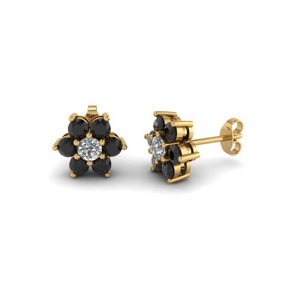 Flower Stud Women Earring With Black Diamond In 18k Yellow Gold Fdear1081gegblack Nl Yg