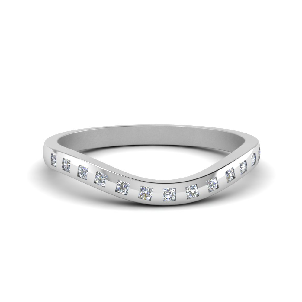 flush diamond curved wedding band in 14K white gold FDENS2255B4 NL WG