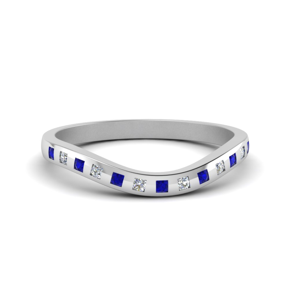 flush diamond curved wedding band with sapphire in 950 platinum FDENS2255B4GSABL NL WG