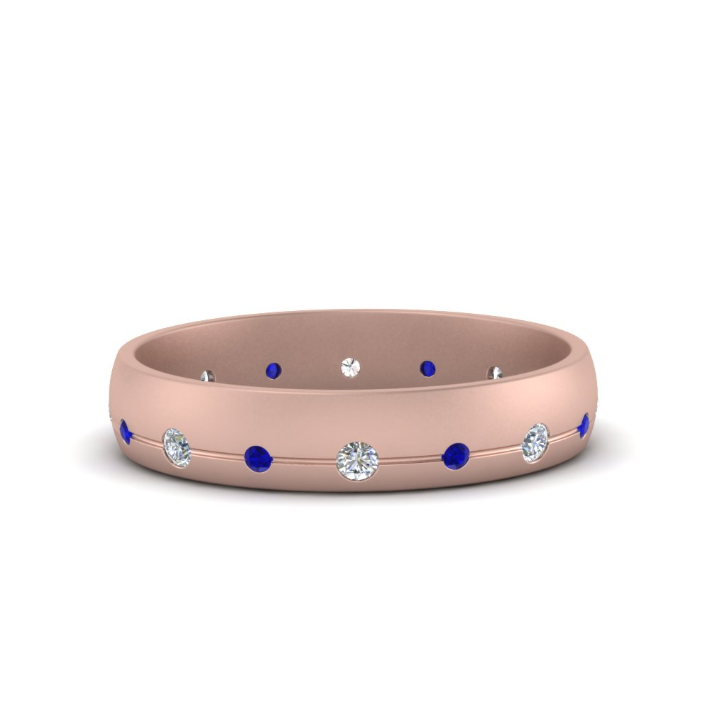 Flush Set Sapphire Wedding Band