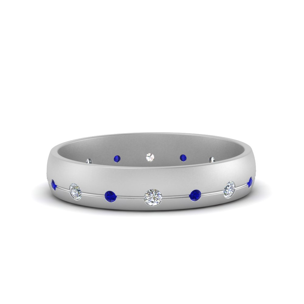flush set diamond wedding band with blue sapphire in FDM122266BGSABL NL WG