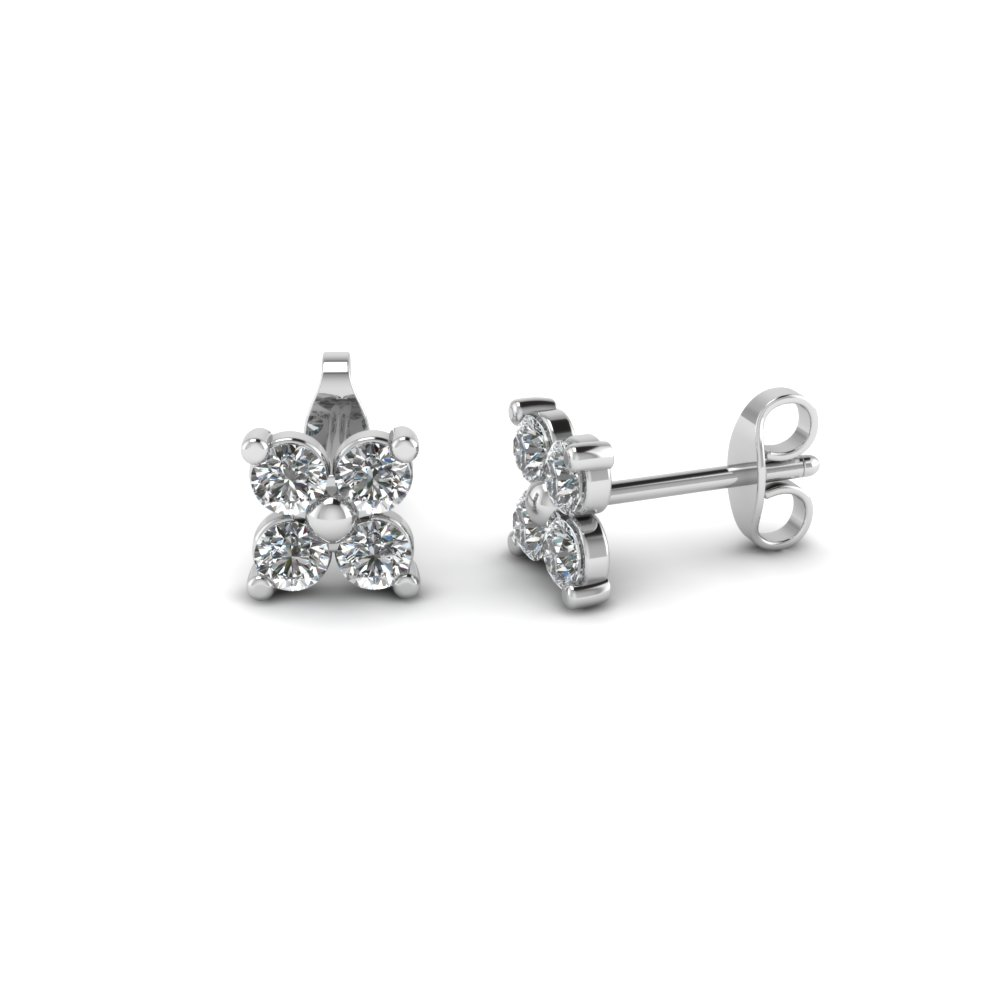 white diamond stud gold earrings flower