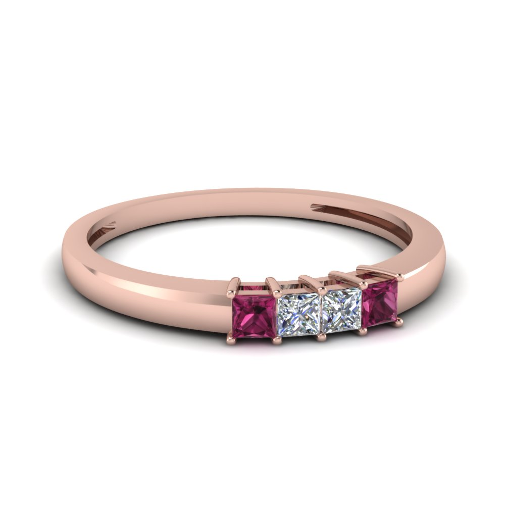 four stone anniversary women band with pink sapphire in FDENS3107BGSADRPI NL RG