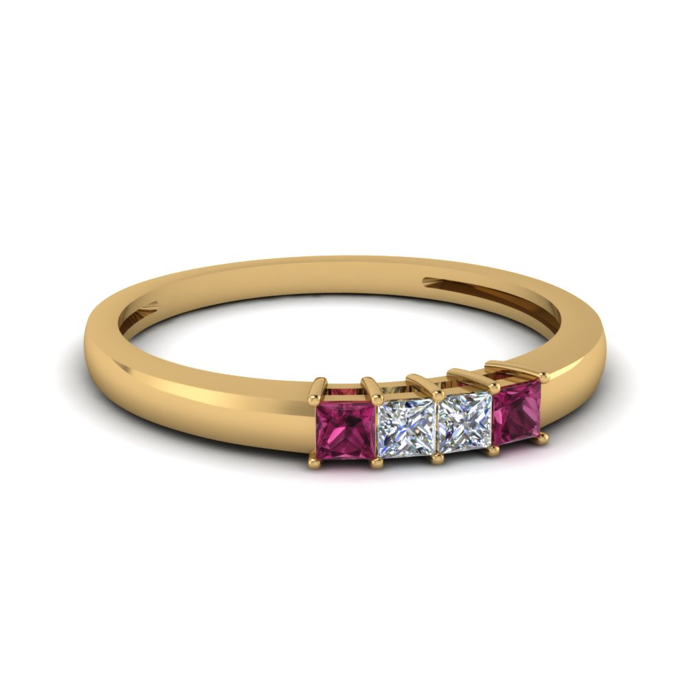 four stone anniversary women band with pink sapphire in FDENS3107BGSADRPI NL YG