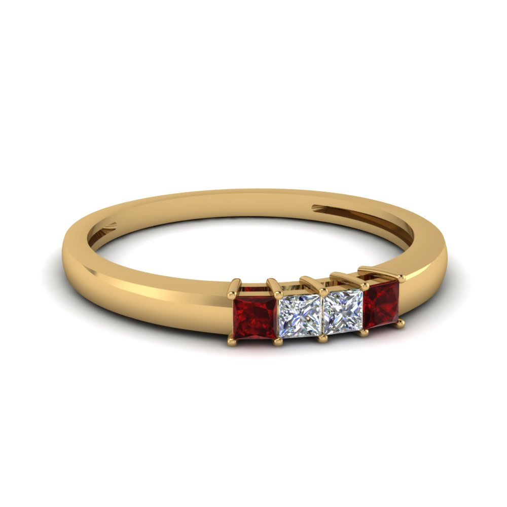 four stone anniversary women band with ruby in FDENS3107BGRUDR NL YG