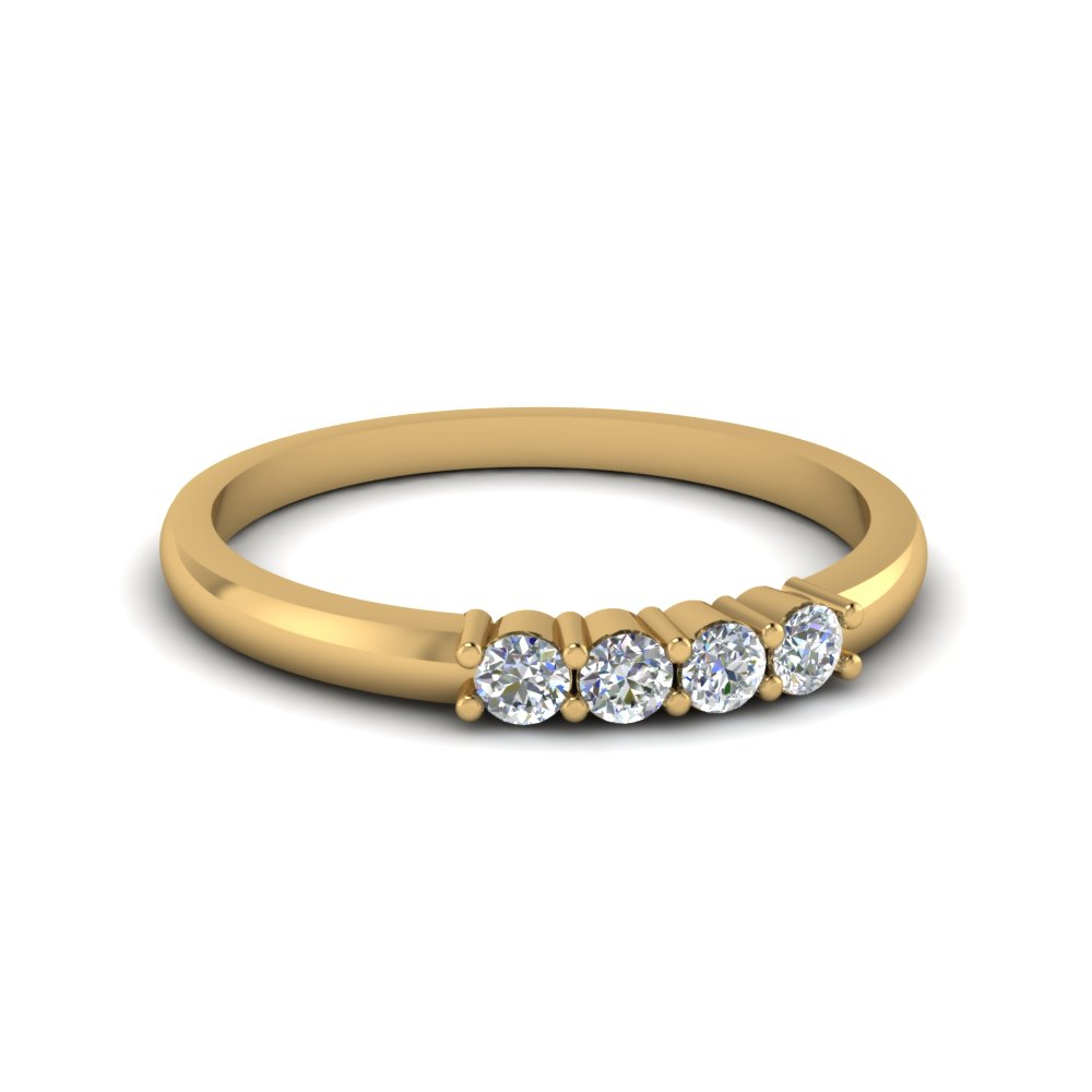 Four Stone Round Diamond Wedding Band In 14K Yellow Gold