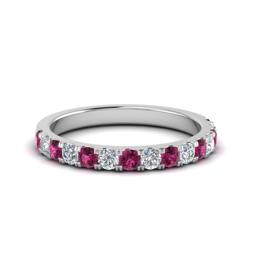 french pave 0.75 carat round diamond band with pink sapphire in FD8370 0.75CTBGSADRPI NL WG