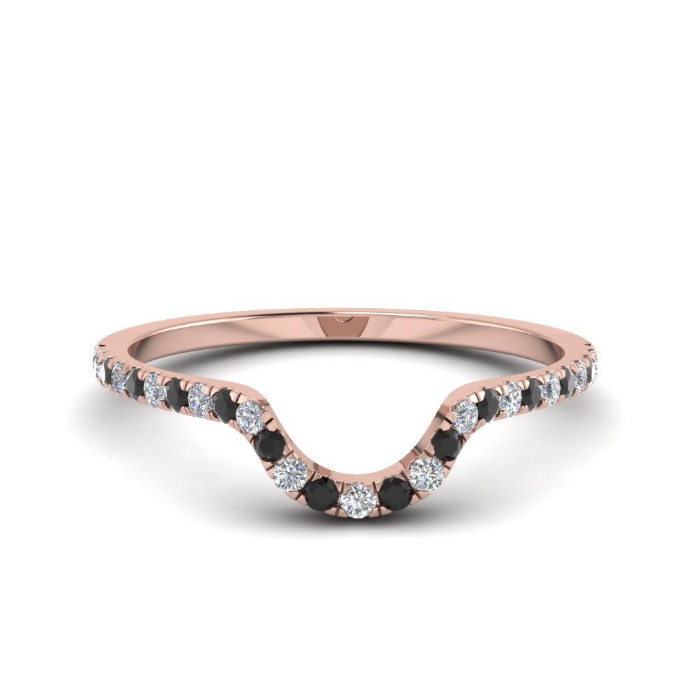 French Pave Curved Wedding Band