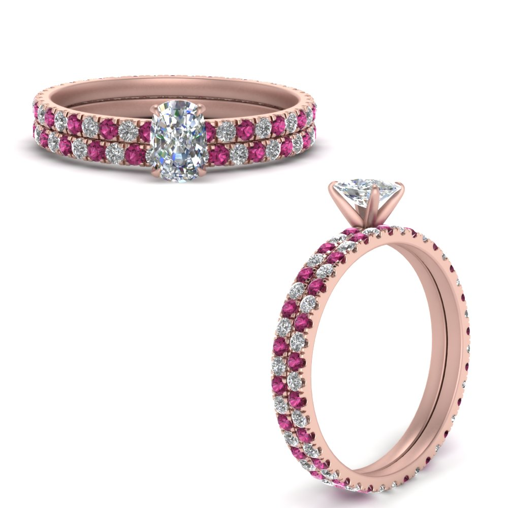 french-pave-cushion-diamond-eternity-wedding-set-with-pink-sapphire-in-FD9341CUGSADRPIANGLE3-NL-RG
