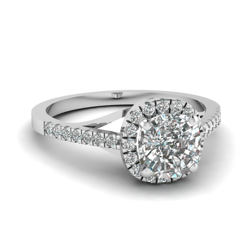 french pave cushion halo diamond engagement ring in FDENS3149CUR NL WG