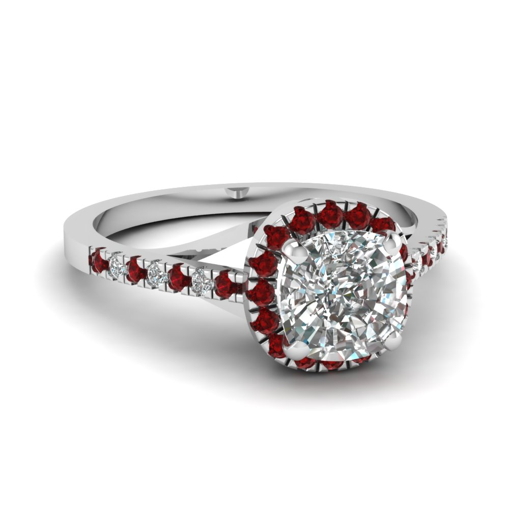 french pave halo diamond engagement ring with ruby in FDENS3149CURGRUDR NL WG
