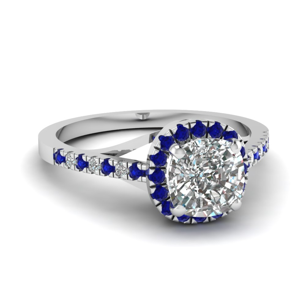 french pave cushion halo diamond engagement ring with sapphire in FDENS3149CURGSABL NL WG