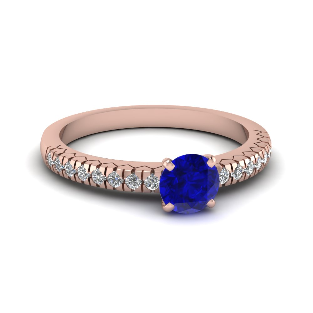 French Pave Diamond And Sapphire Engagement Ring in Rose Gold