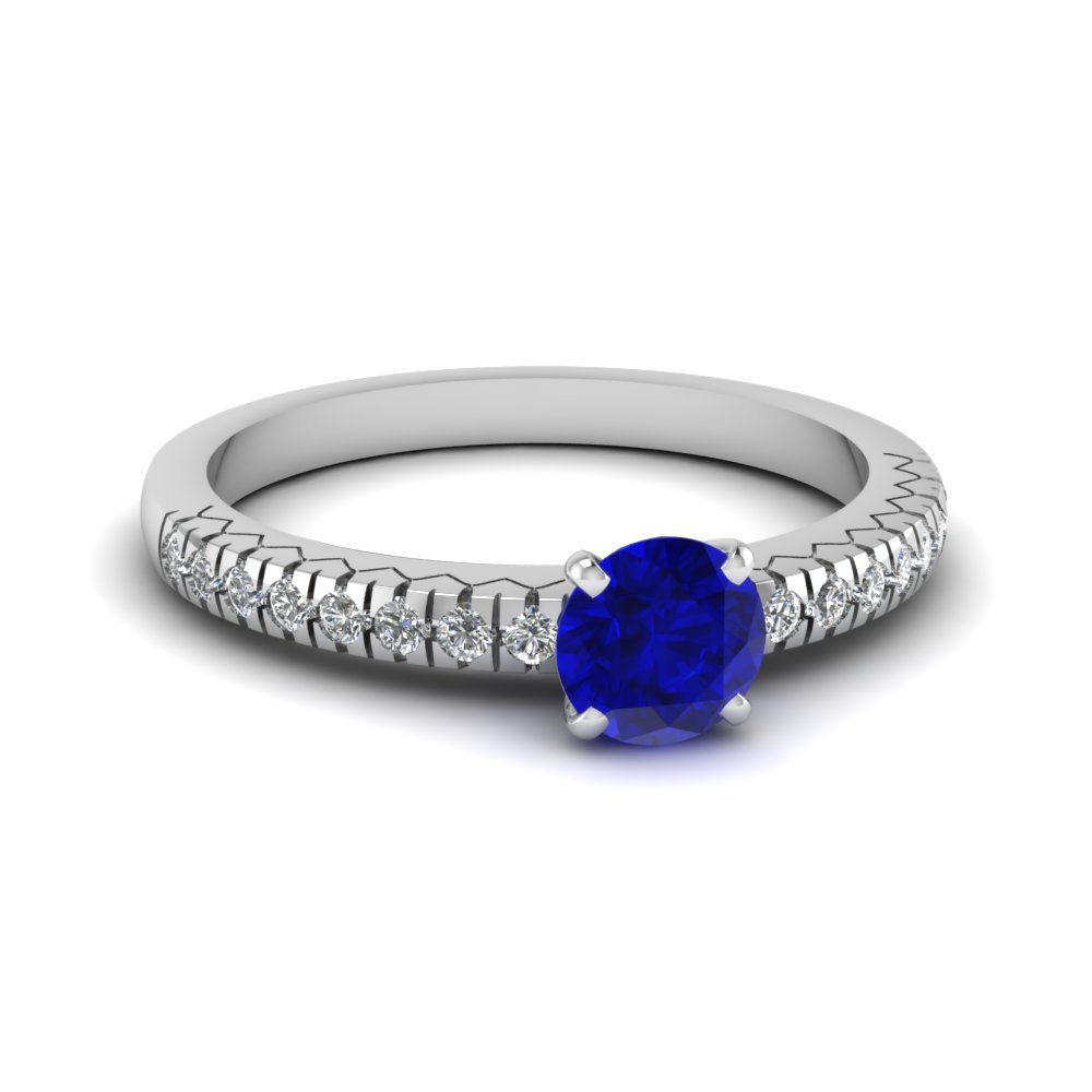 french pave sapphire engagement ring in FDENS3073RORGBS NL WG