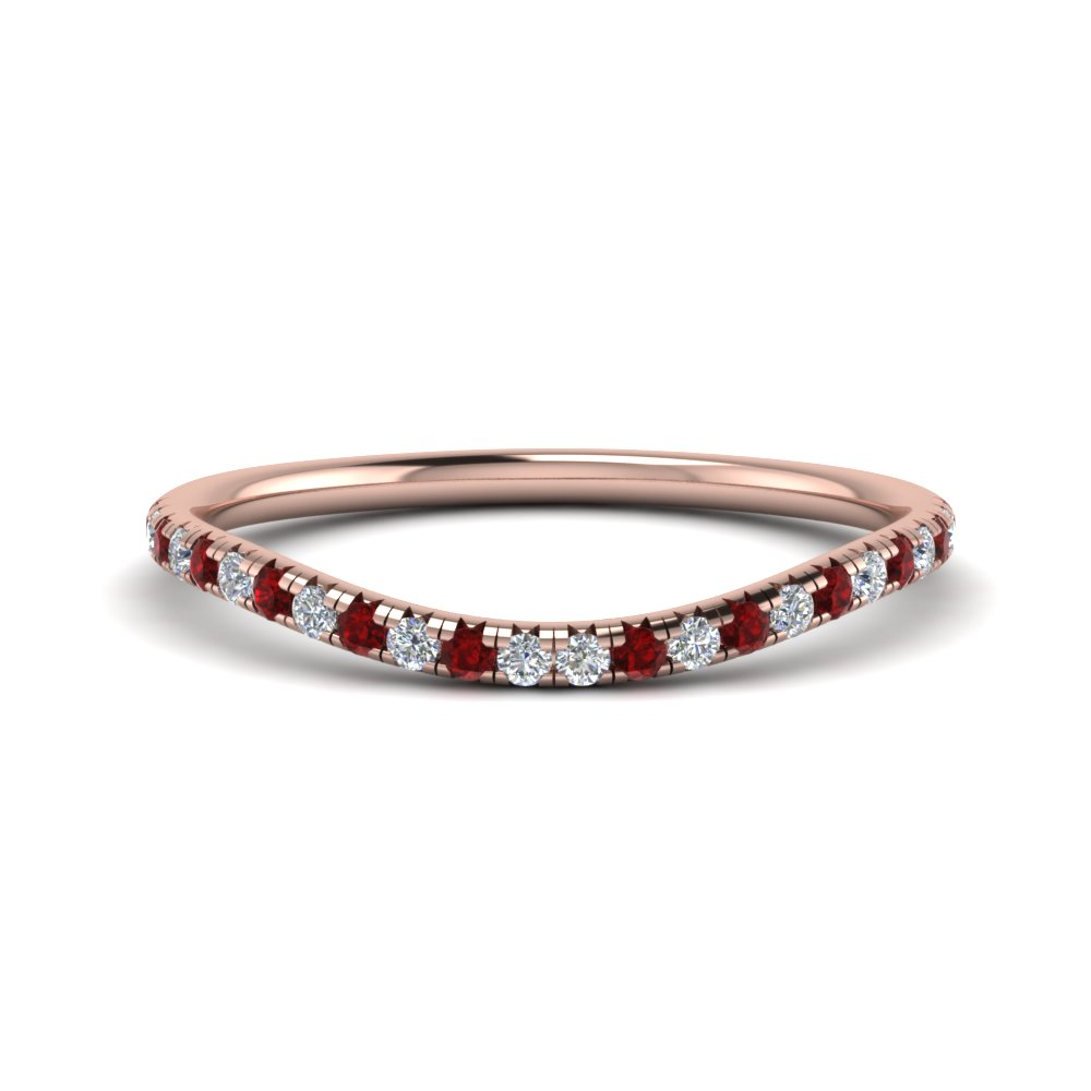 french pave diamond contour wedding band with ruby in FD123457BGRUDR NL RG