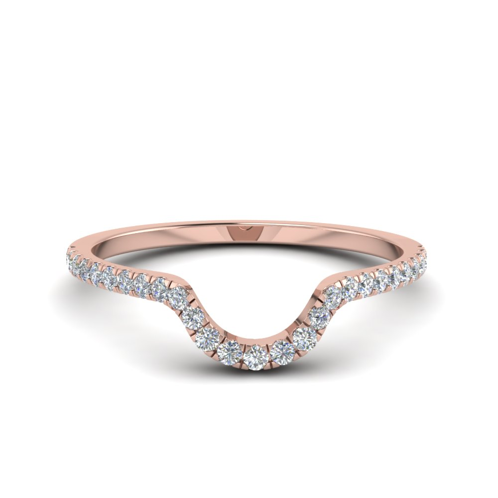 french pave diamond curved wedding band in 14K rose gold FD8164B NL RG