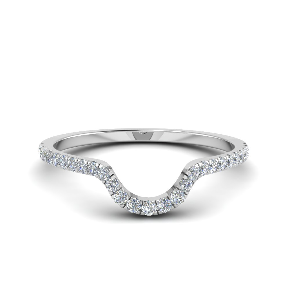 French Pave White Gold Band