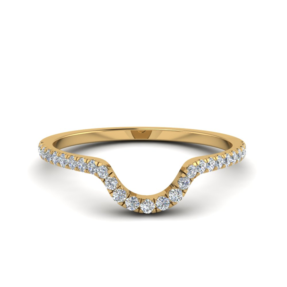 french pave diamond curved wedding band in 14K yellow gold FD8164B NL YG