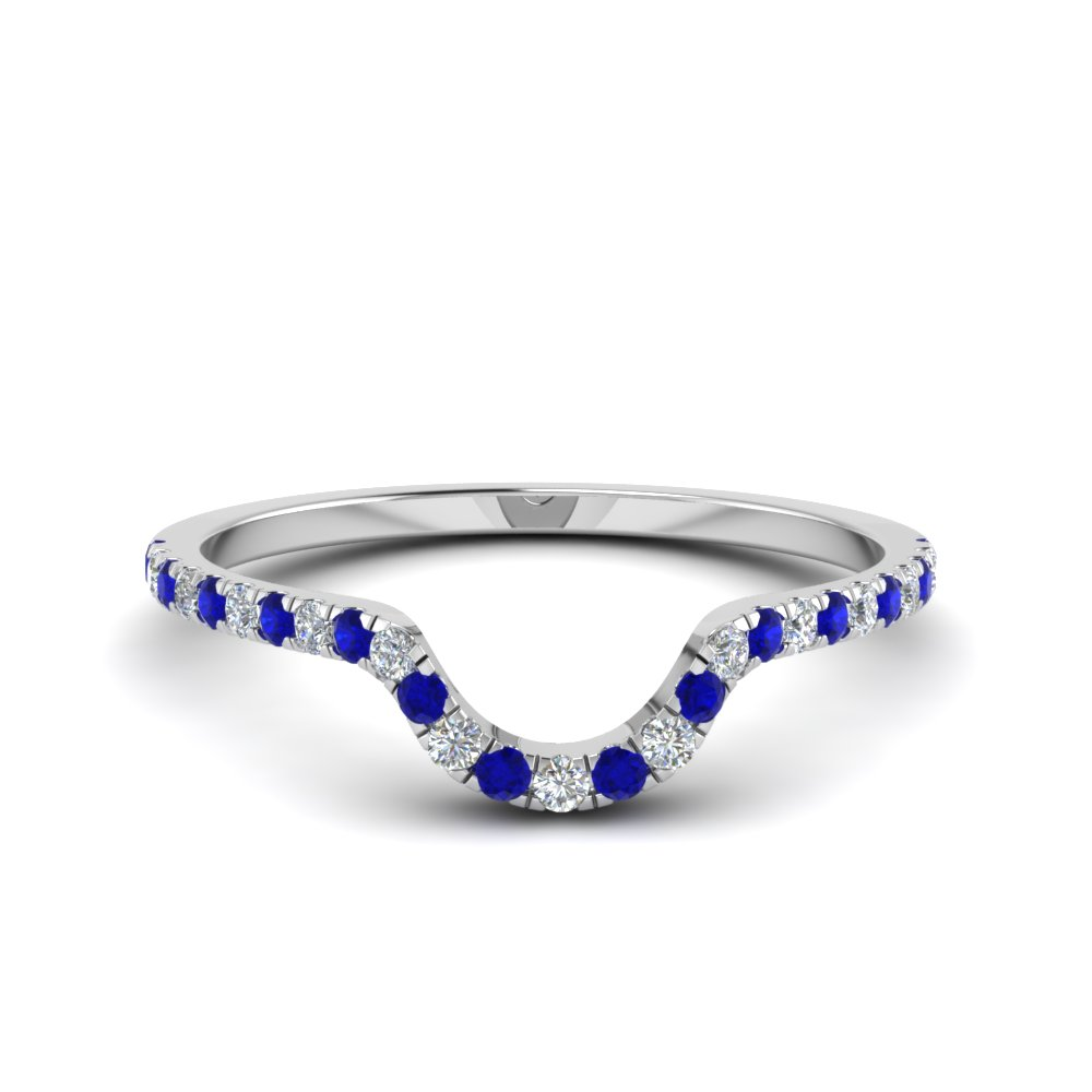 french pave diamond curved wedding band with blue sapphire in FD8164BGSABL NL WG.jpg