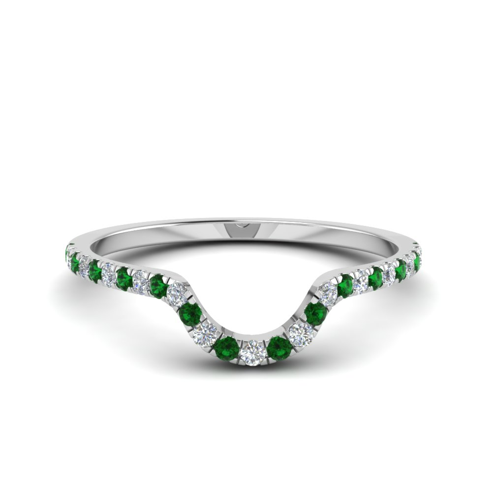 french pave diamond curved wedding band with emerald in FD8164BGEMGR NL WG.jpg