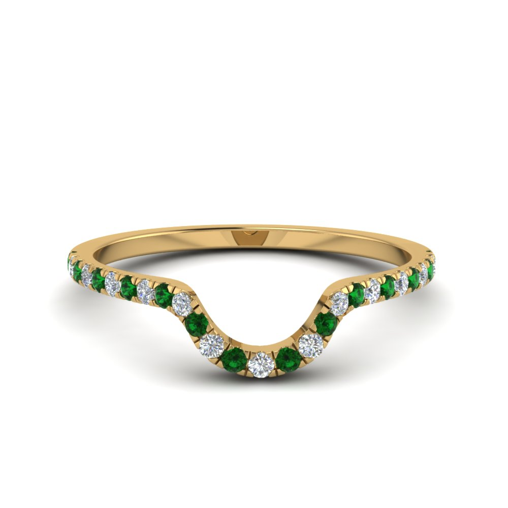 Emerald Curved Wedding Band