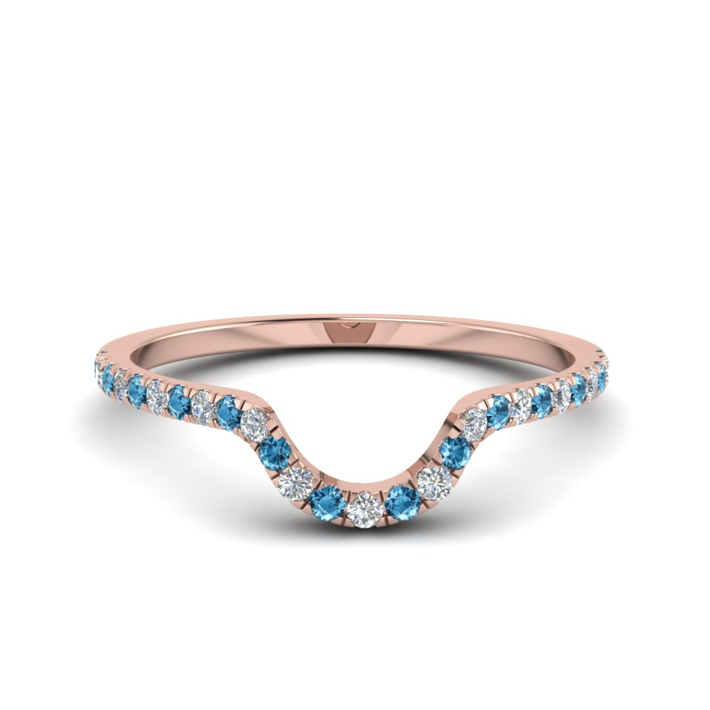 Blue Topaz Curved Wedding Band