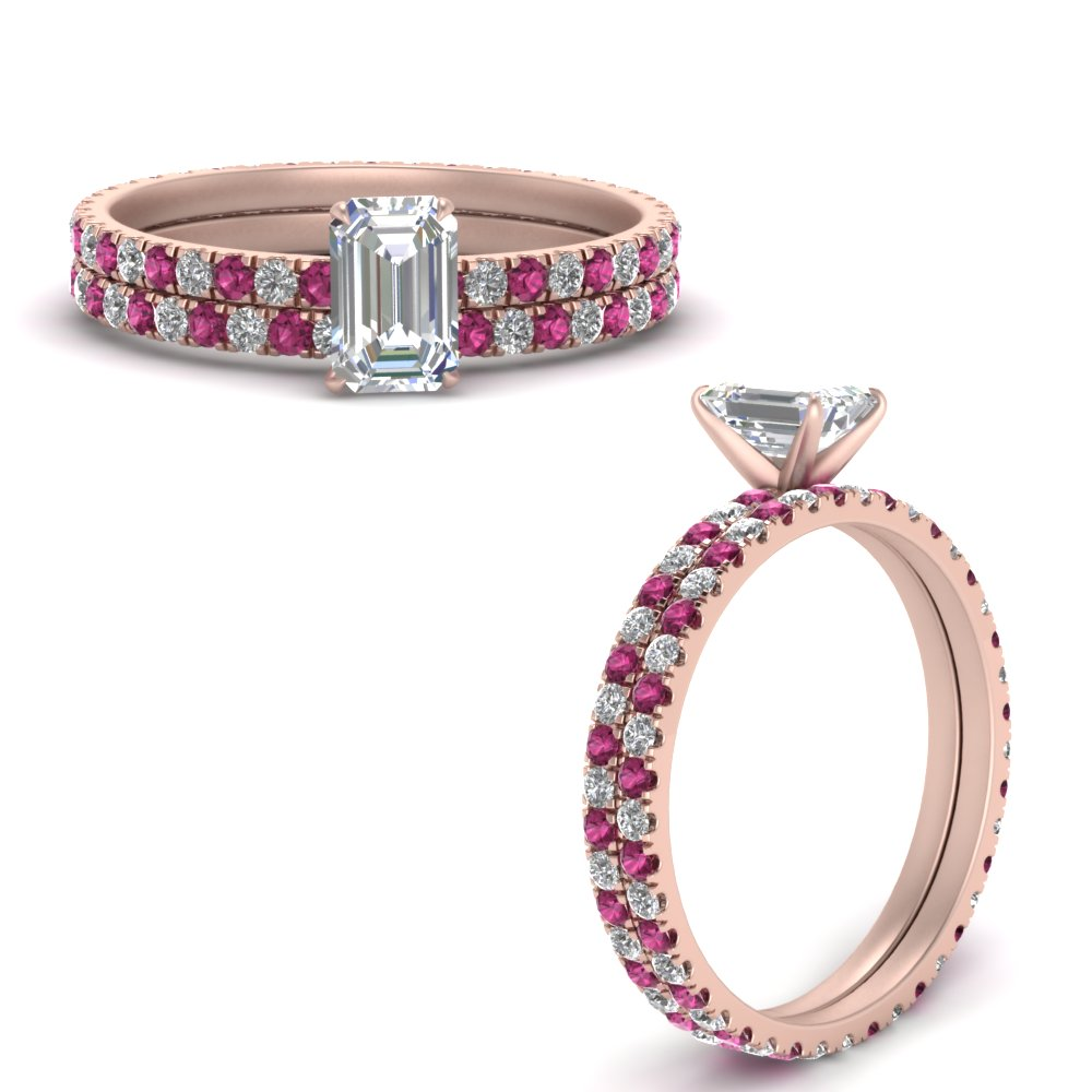 french-pave-emerald-cut-diamond-eternity-wedding-set-with-pink-sapphire-in-FD9341EMGSADRPIANGLE3-NL-RG