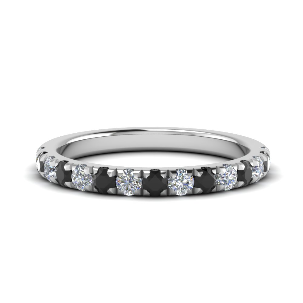f6baba09951509 0.50 Ct. French Pave Half Eternity Band With Black Diamond In 14K ...