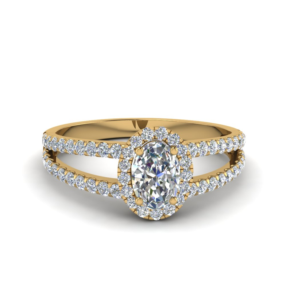 french pave halo oval shaped diamond split ring in 14K yellow gold FDENR7275OVR NL YG
