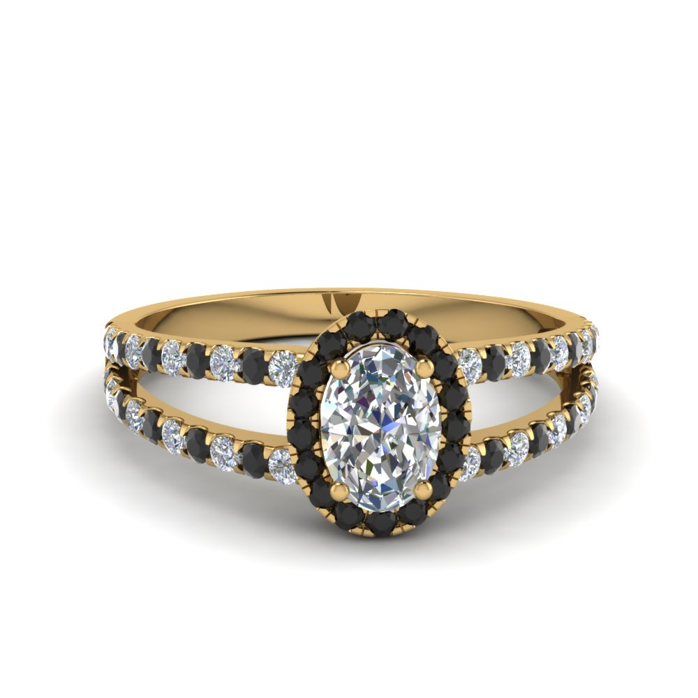 french pave halo oval shaped split ring with black diamond in 18K yellow gold FDENR7275OVRGBLACK NL YG