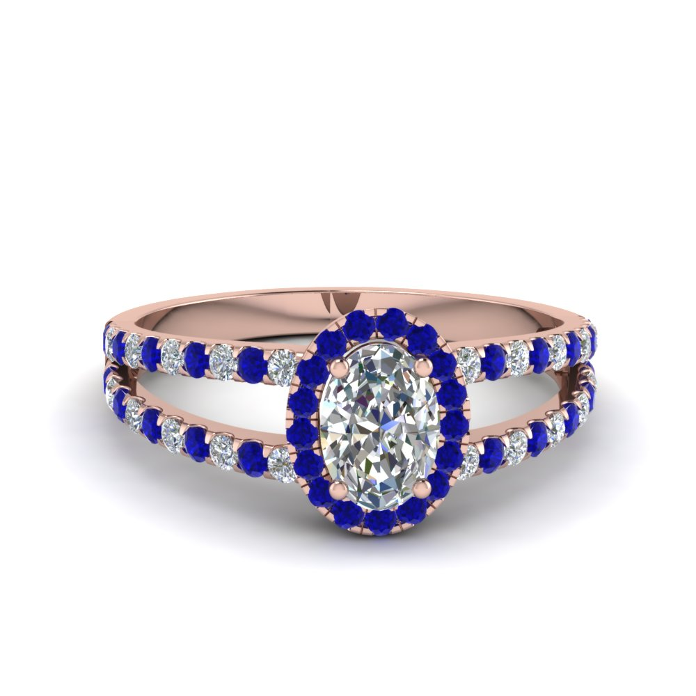 Sapphire Oval Shaped Diamond Ring