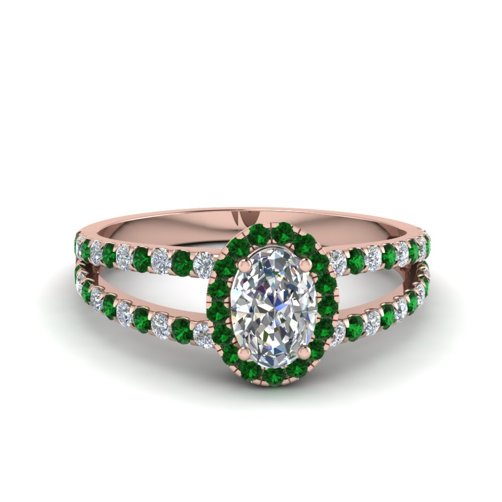 Emerald Split Shank Engagement Rings