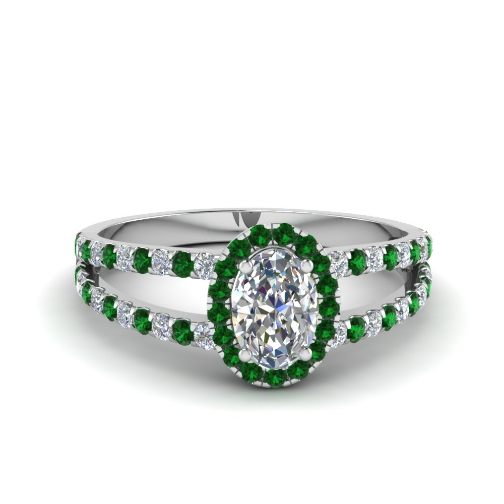 Emerald French Pave Halo Ring