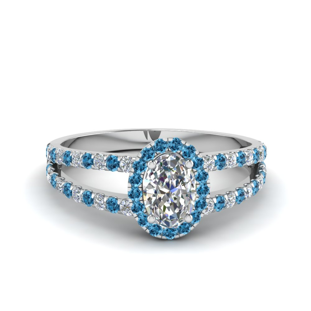 french pave halo oval shaped diamond split ring with blue topaz in 950 platinum FDENR7275OVRGICBLTO NL WG