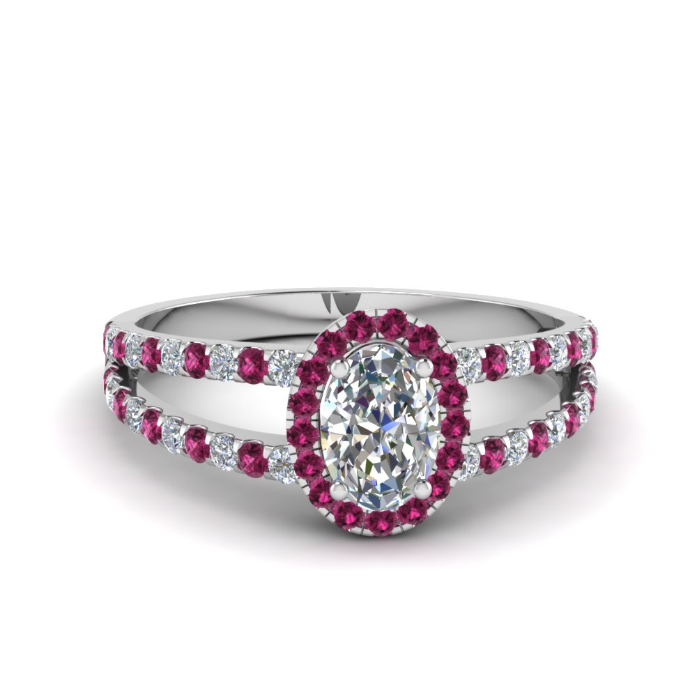 french pave halo oval shaped diamond split ring with pink sapphire in 14K white gold FDENR7275OVRGSADRPI NL WG