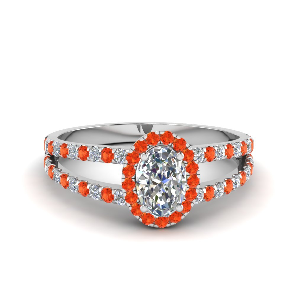 french pave halo oval shaped diamond split ring with orange topaz in 14K white gold FDENR7275OVRGPOTO NL WG