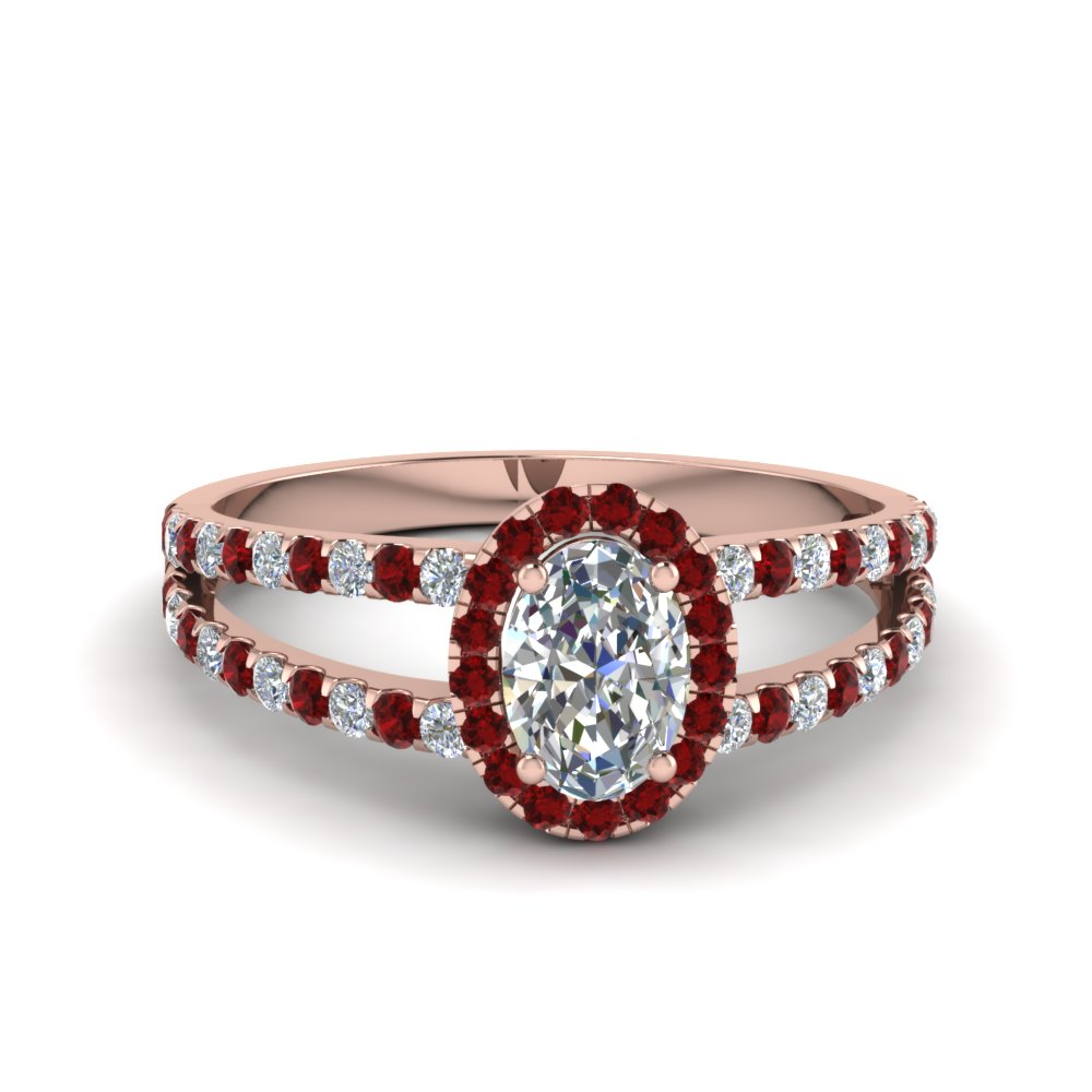 french pave halo oval shaped diamond split ring with ruby in 18K rose gold FDENR7275OVRGRUDR NL RG
