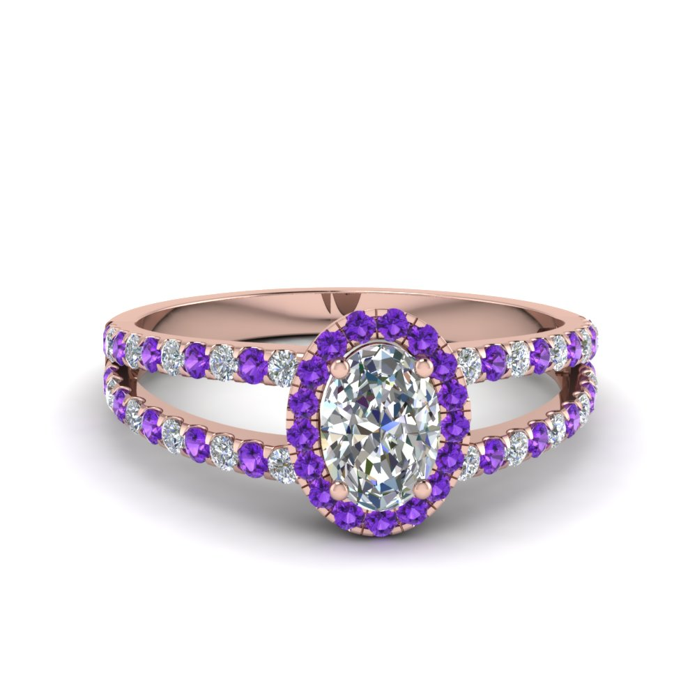 french pave halo oval shaped diamond split ring with violet topaz in 14K rose gold FDENR7275OVRGVITO NL RG