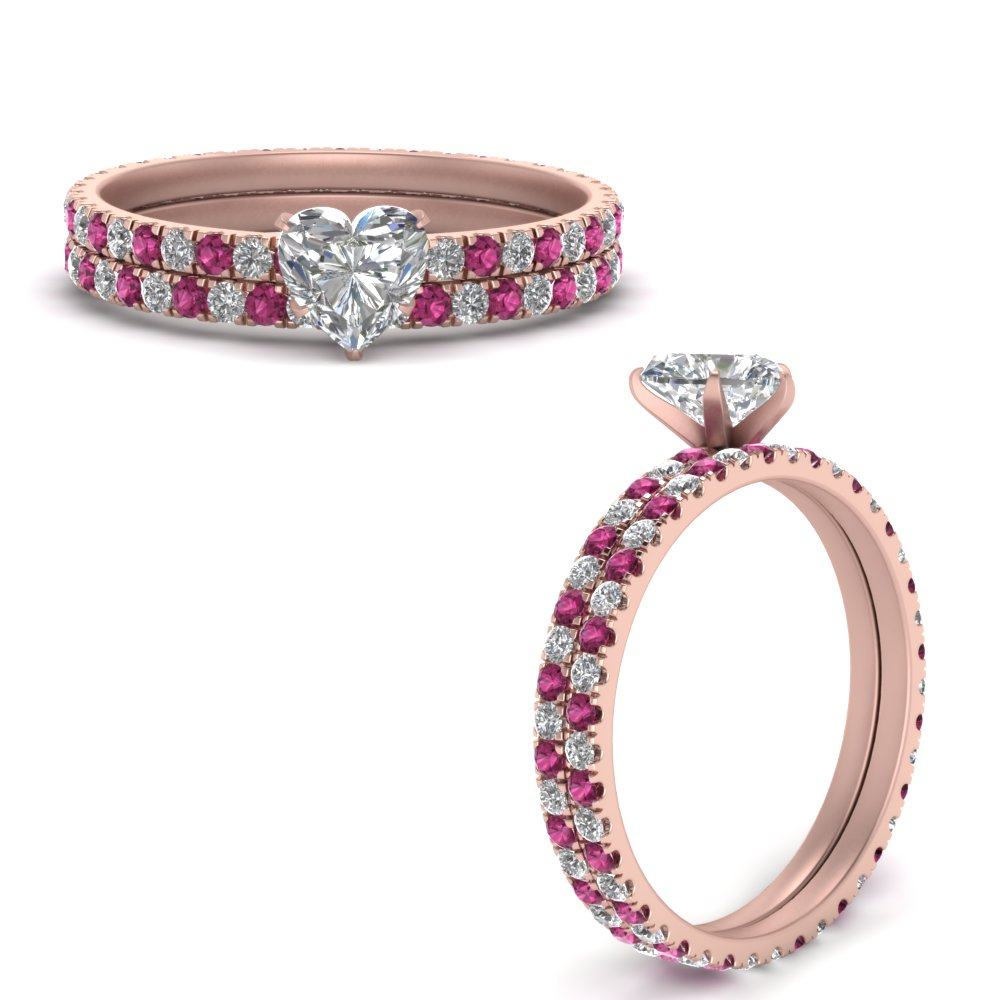 french-pave-heart-lab diamond-eternity-wedding-set-with-pink-sapphire-in-FD9341HTGSADRPIANGLE3-NL-RG