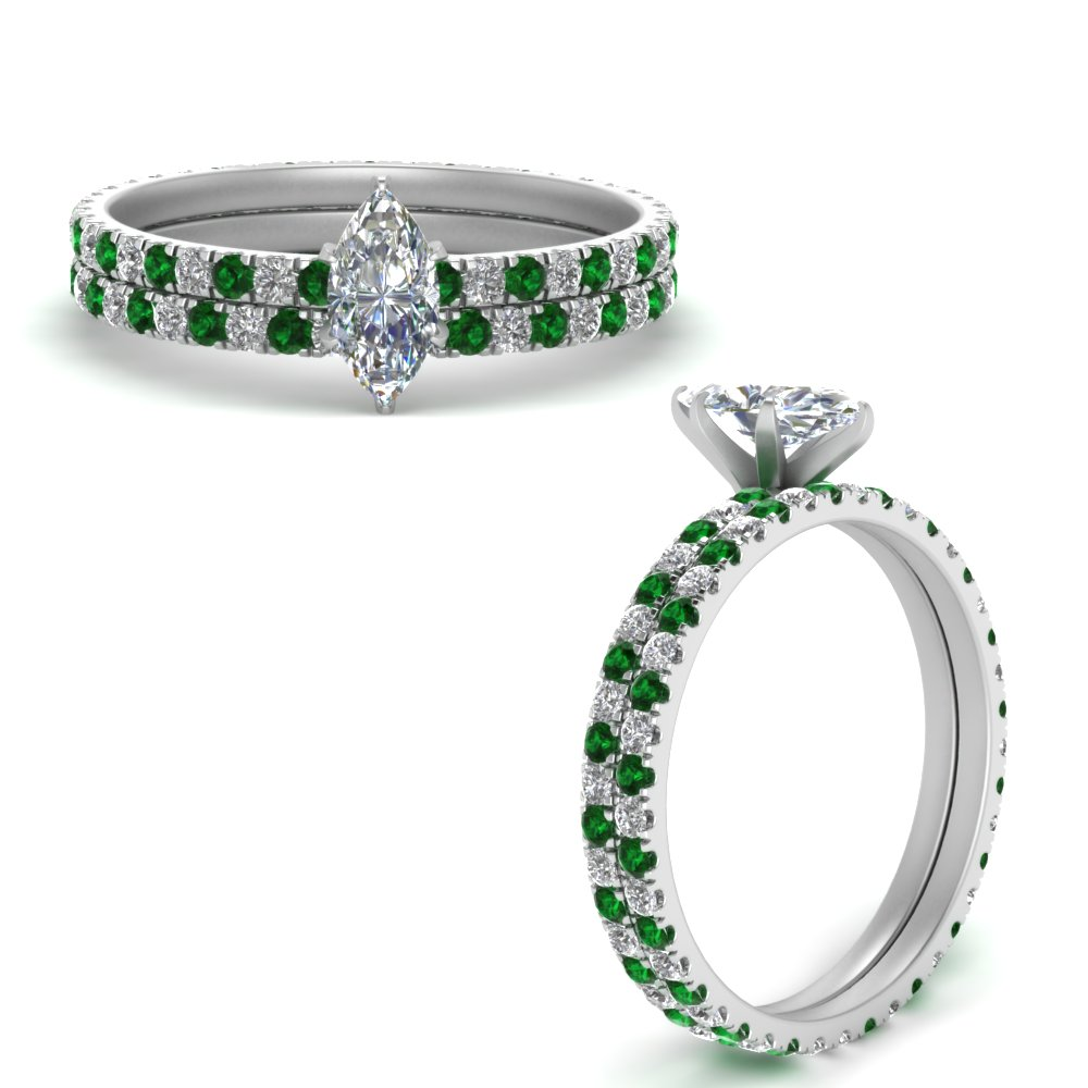french-pave-marquise-diamond-eternity-wedding-set-with-emerald-in-FD9341MQGEMGRANGLE3-NL-WG