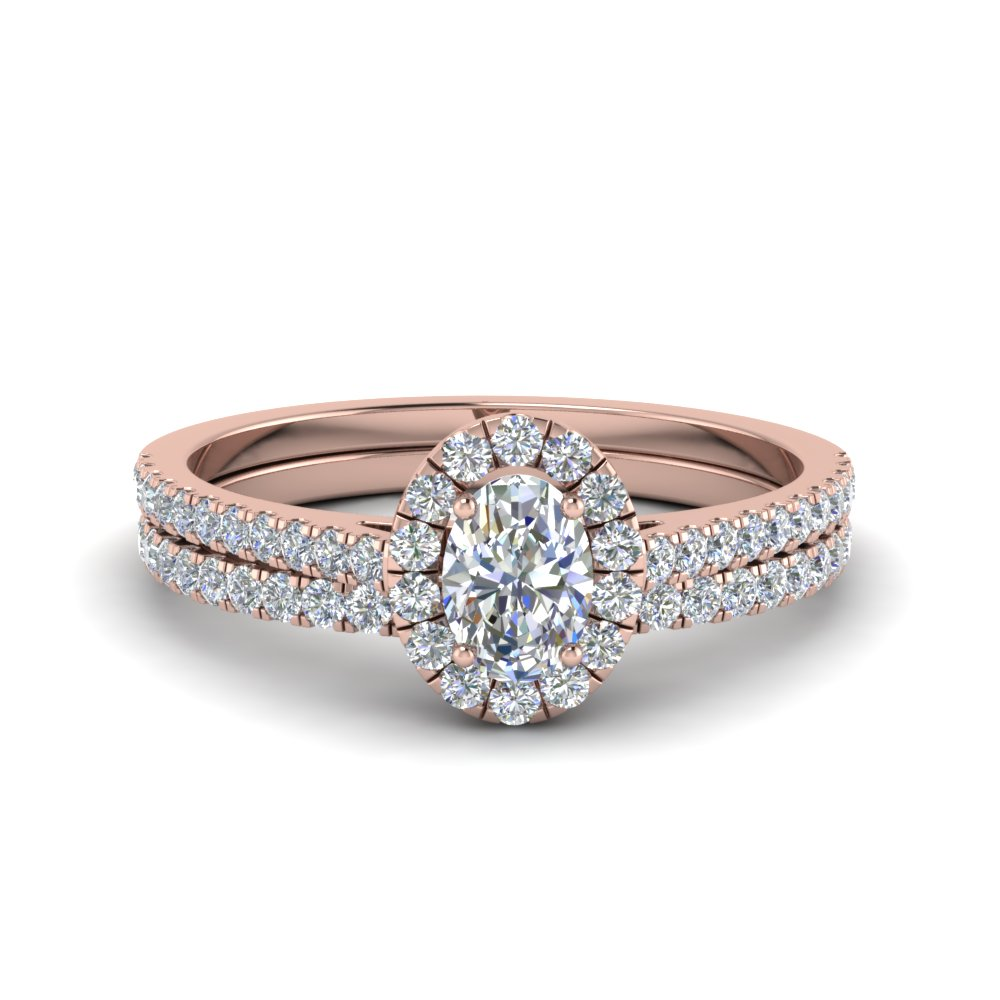 French Pave Oval Halo Diamond Bridal Set In 14K Rose Gold ...