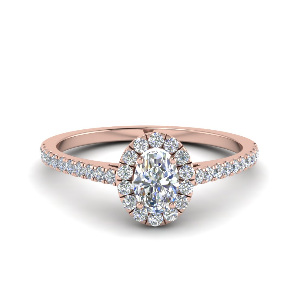 french pave oval shaped diamond halo engagement ring in 14K rose gold FD8163OVR NL RG