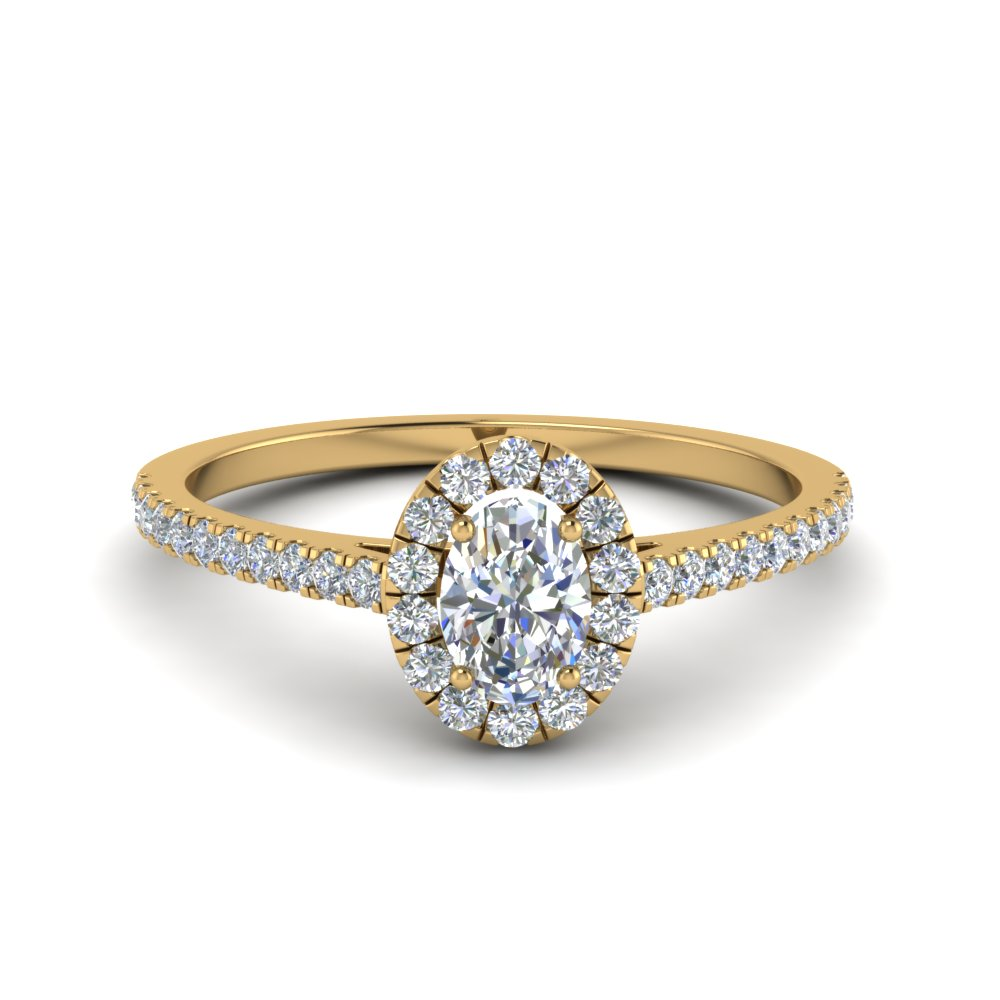 french pave oval shaped diamond halo engagement ring in 14K yellow gold FD8163OVR NL YG