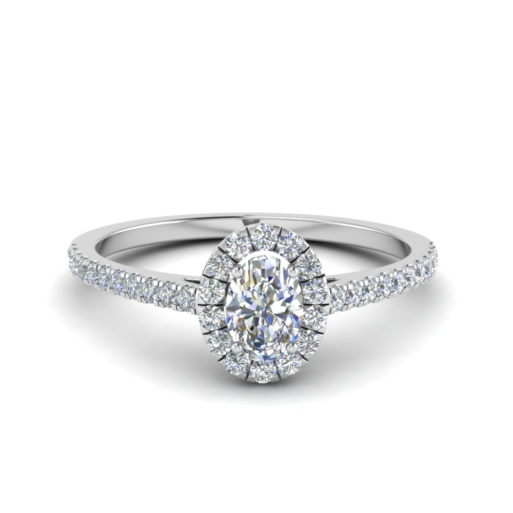 french pave oval shaped diamond halo engagement ring in 18K white gold FD8163OVR NL WG